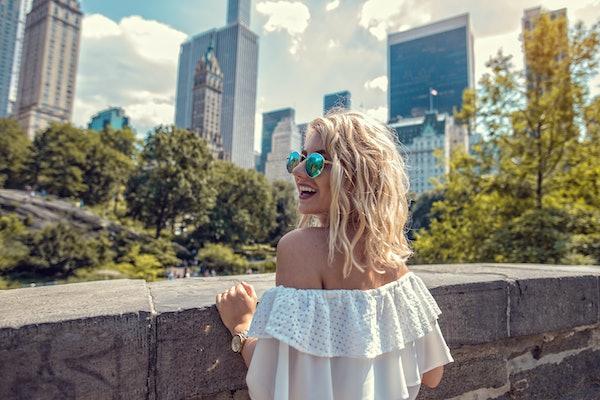 Fashion woman exploring city life, Central Park New York City