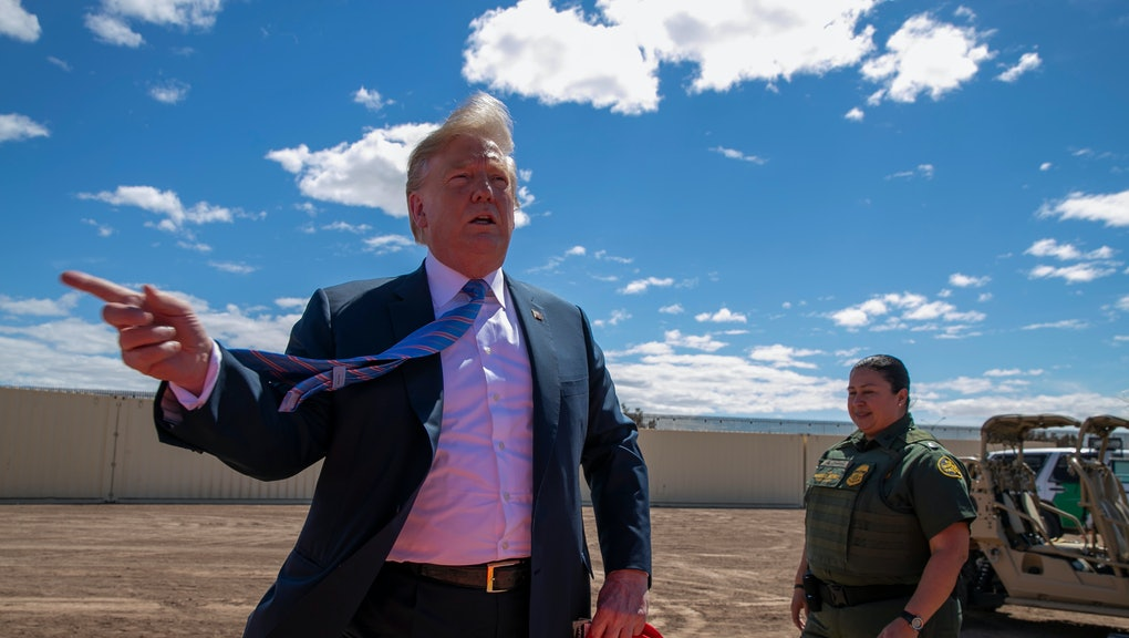 President Donald Trump speaks as he visits a new section of the border wall with Mexico in Calexico, Calif