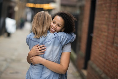 lesbian couple hugging each other