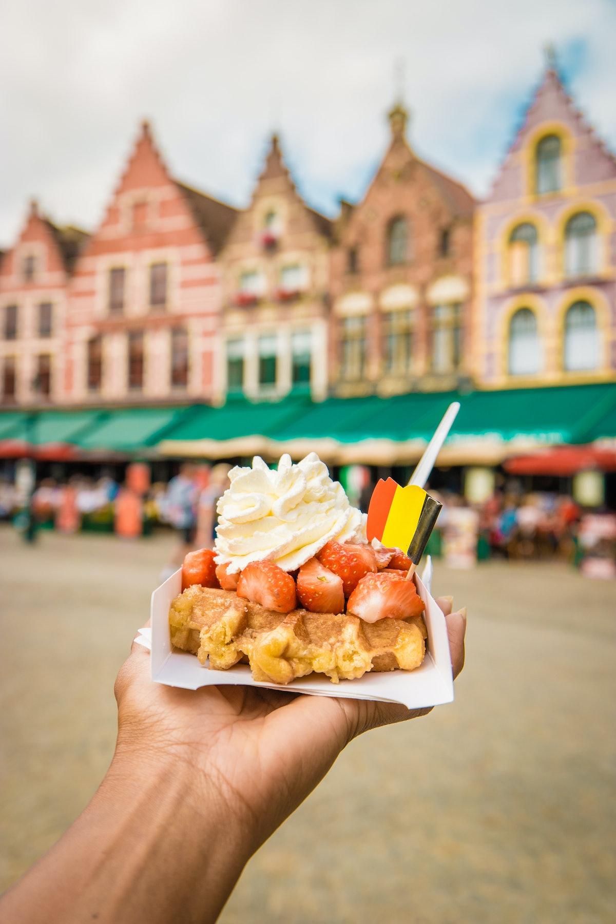 Brugge waffles Belgium, Waffle with cream and strawberry