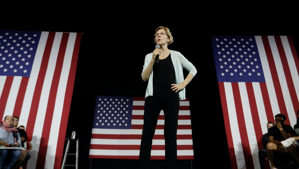 Democratic presidential candidate Elizabeth Warren, D-Mass speaks during a town hall campaign event ...
