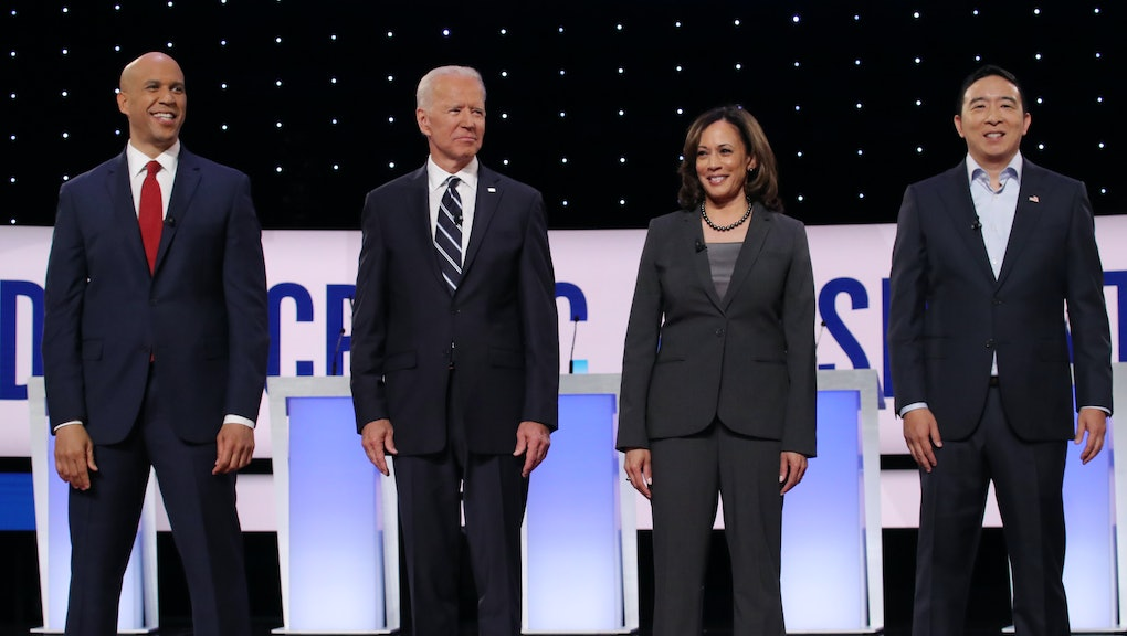 Cory Booker, Joe Biden, Kamala Harris and Andrew Yang