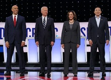 Cory Booker, Joe Biden, Kamala Harris and Andrew Yang