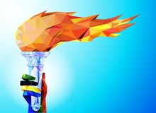 Torch, Flame. A hand from the Olympic ribbons holds the Cup with a torch on a blue background in a g...