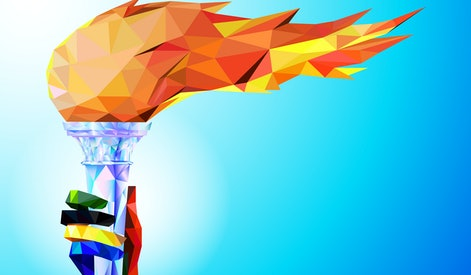 Torch, Flame. A hand from the Olympic ribbons holds the Cup with a torch on a blue background in a geometric triangle of XXIII style Winter games. Olympic games