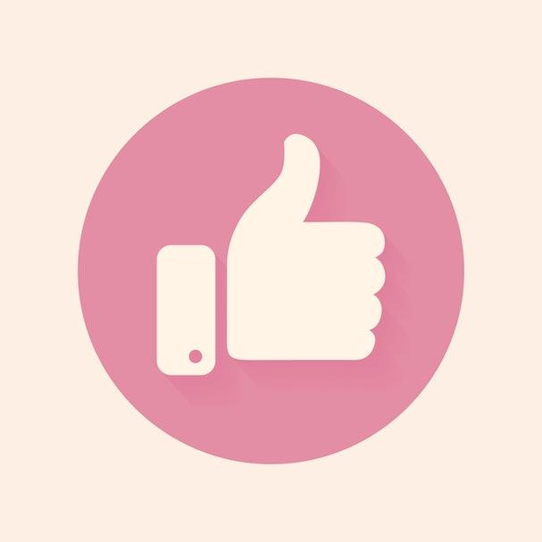 Thumb up symbol, finger up icon vector illustration. Facebooke like.
