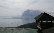Taal volcano continues to erupt in Lemery, Batangas, southern Philippines on . Red-hot lava gushed o...
