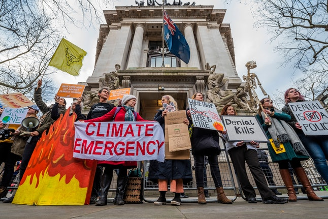 Extinction rebellion gather outside the Australian High Commission, on the Aldwych, to protest about the attitude of the Australian Government to climate change, in general, and the forest fires (and their wider impact), in particular.