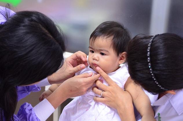 lovely baby don't like dentist