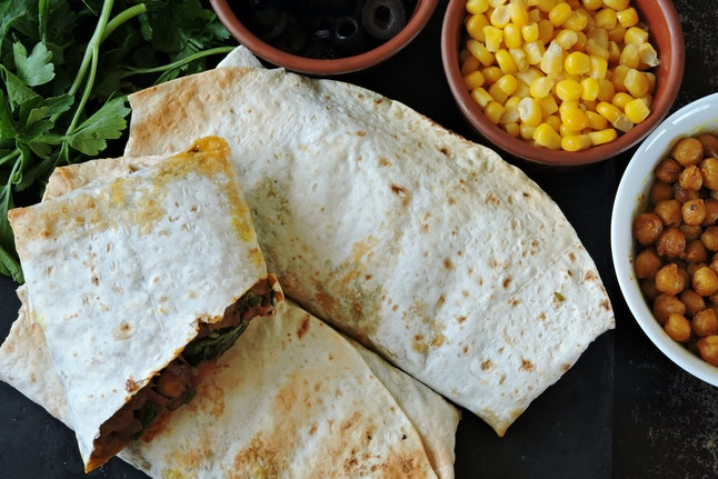 Vegan burritos. Healthy lunch or snack. Useful fast food.