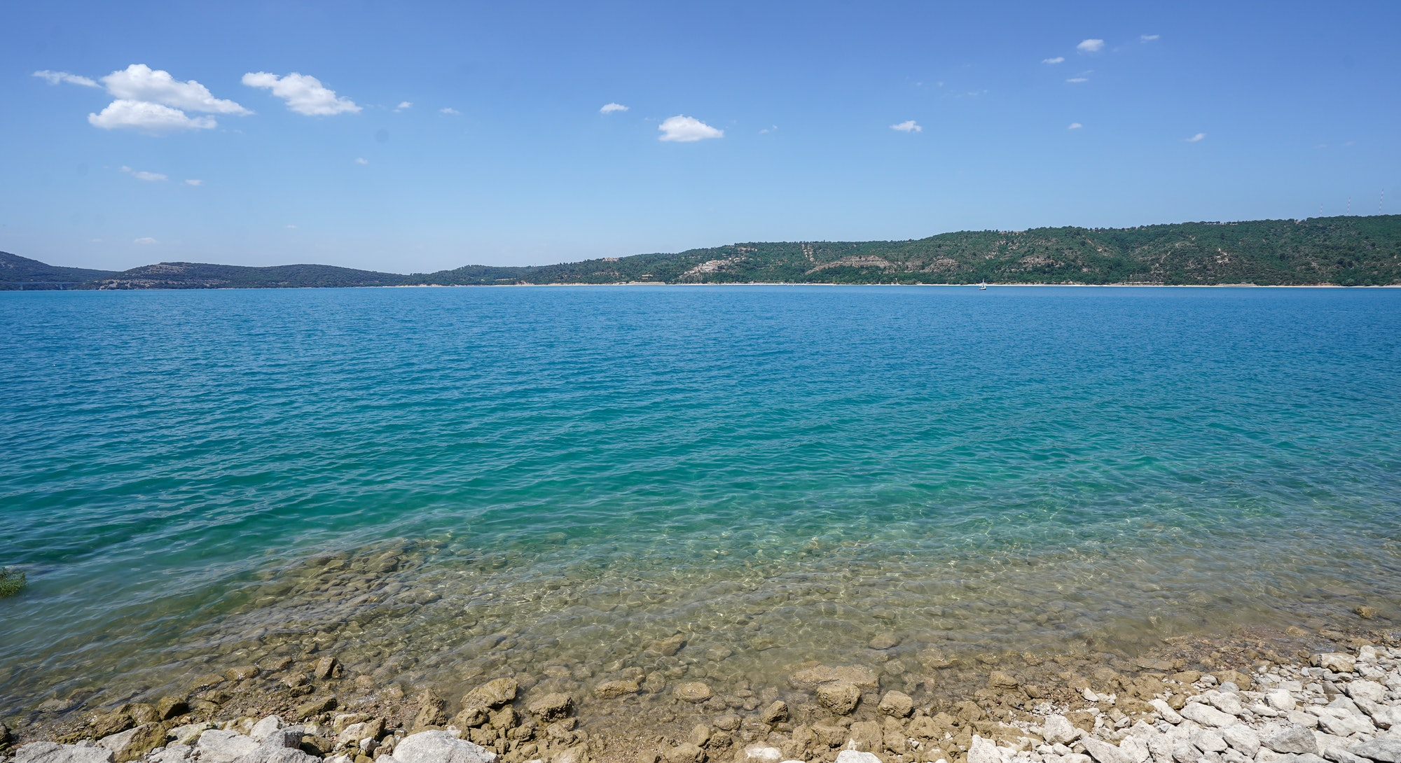 lake pristine water aerial drone