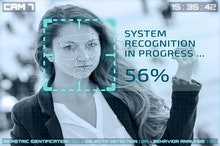 Simulation of a screen of cctv cameras with facial recognition. Facial recognition of a woman in a s...