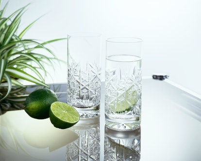 Gin and Lime in a faceted glass