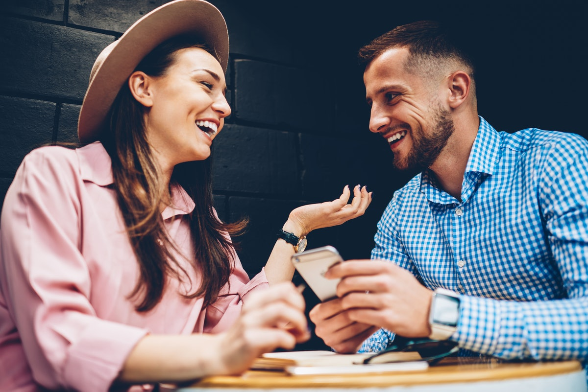 One of the signs your date is nervous around you is if they can't stop laughing.