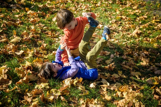 Toddler brothers often roughhouse, but it doesn't always mean that they're fighting or angry.
