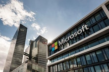 Microsoft Germany, corporate head office, at back Highlight Towers with IBM and Fujitsu headquarters...