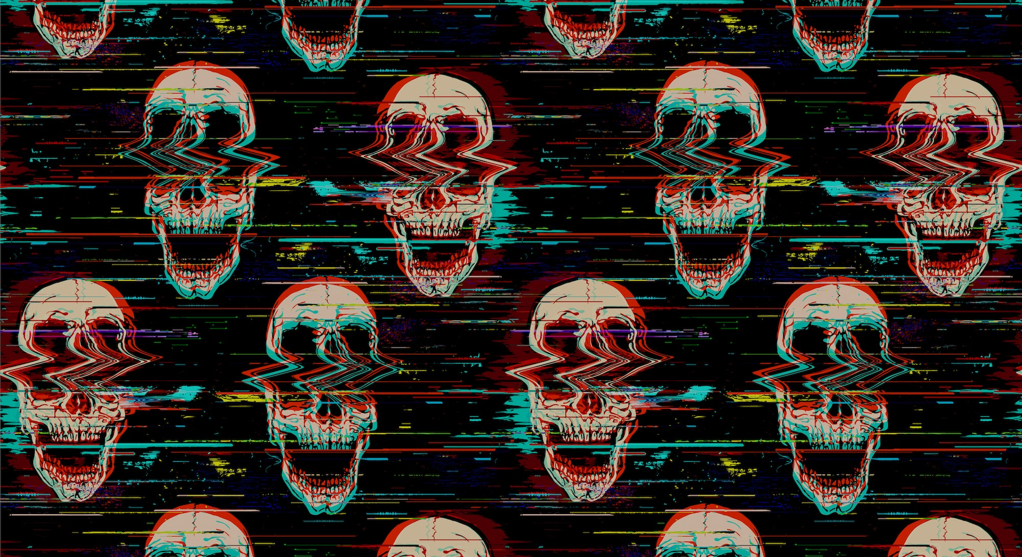 Digital seamless pattern of glitch screaming skull illustration with noise interference from hand drawn illustration.