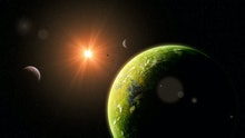 habitable alien world, exoplanets around a distant star, life on exotic planet (3d space illustratio...