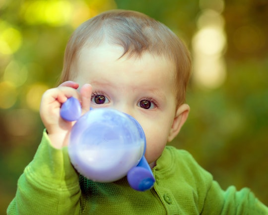 Baby drinking milk out of a sippy cup