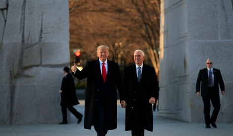 President Donald Trump and Vice President visit the Martin Luther King Jr. Memorial, in Washington