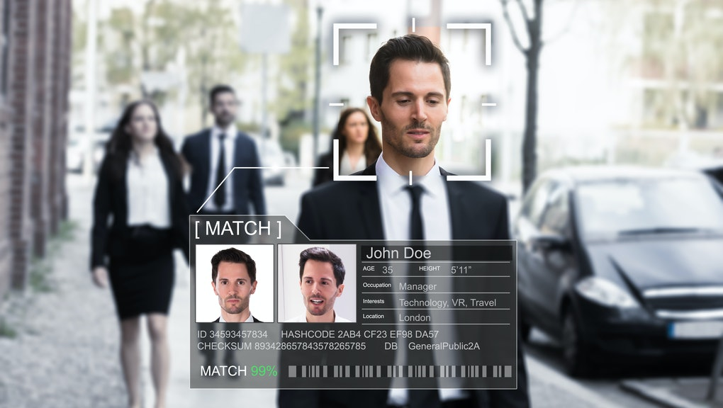 Portrait Of A Young Businessman's Face Recognized Accurately With Intellectual Learning System