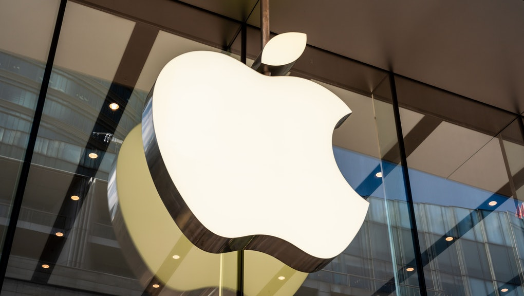 American multinational technology company Apple store and logo.