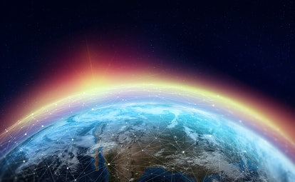 Global network across the planet. The earth is surrounded by a web of digital data. Elements of this...