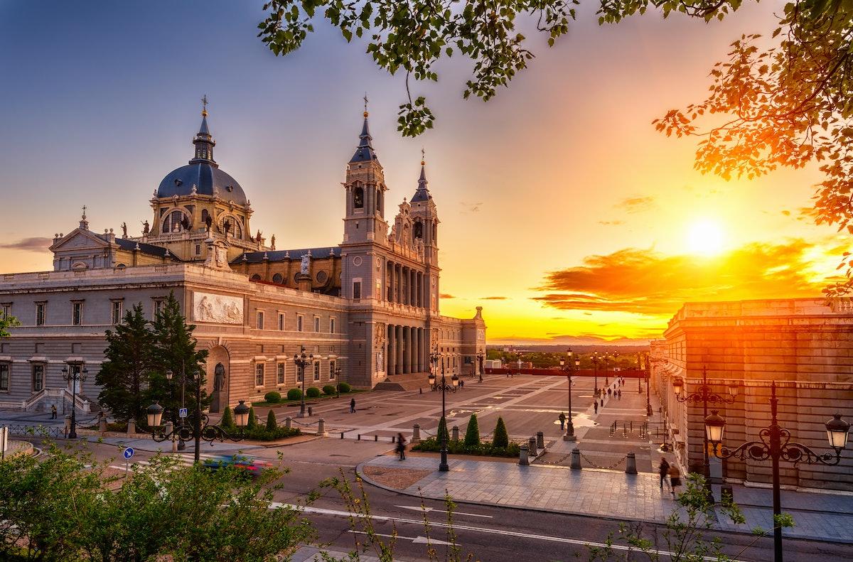 Sunset view of Madrid Cathedral Santa Maria la Real de La Almudena in Madrid, Spain. Architecture an...