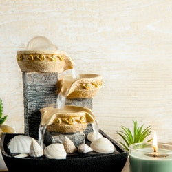 Portable indoor fountain for good Feng Shui in home or office. Small indoor tabletop fountain with w...