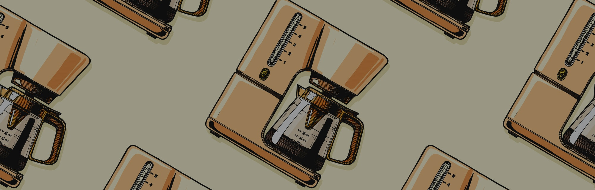 Seamless pattern with coffee machines. Single-cup maker, drip coffeemaker, percolator and espresso machine.