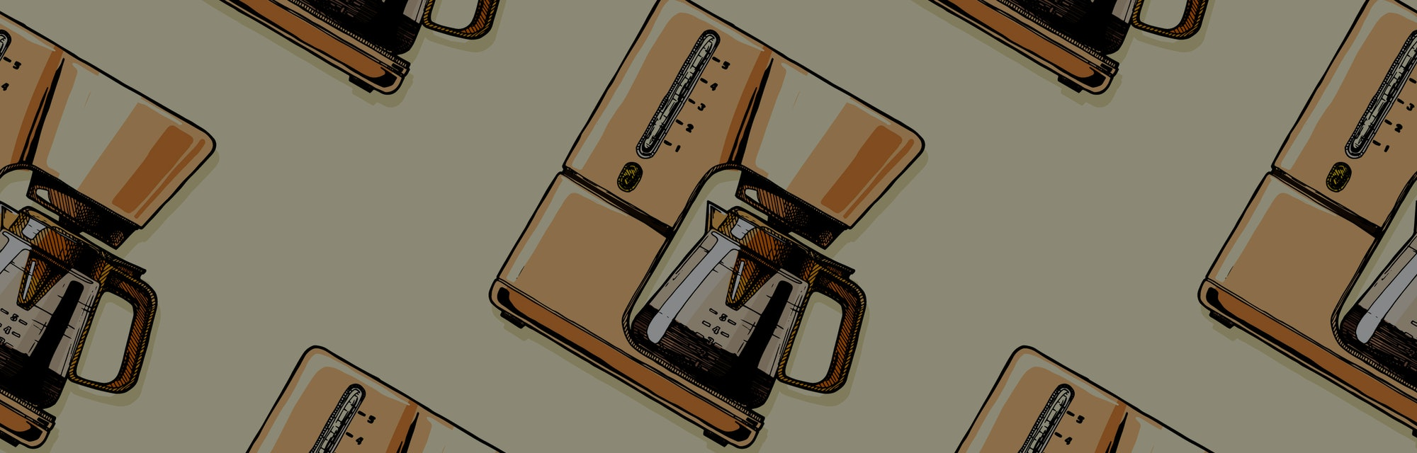 Seamless pattern with coffee machines. Single-cup maker, drip coffeemaker, percolator and espresso machine.