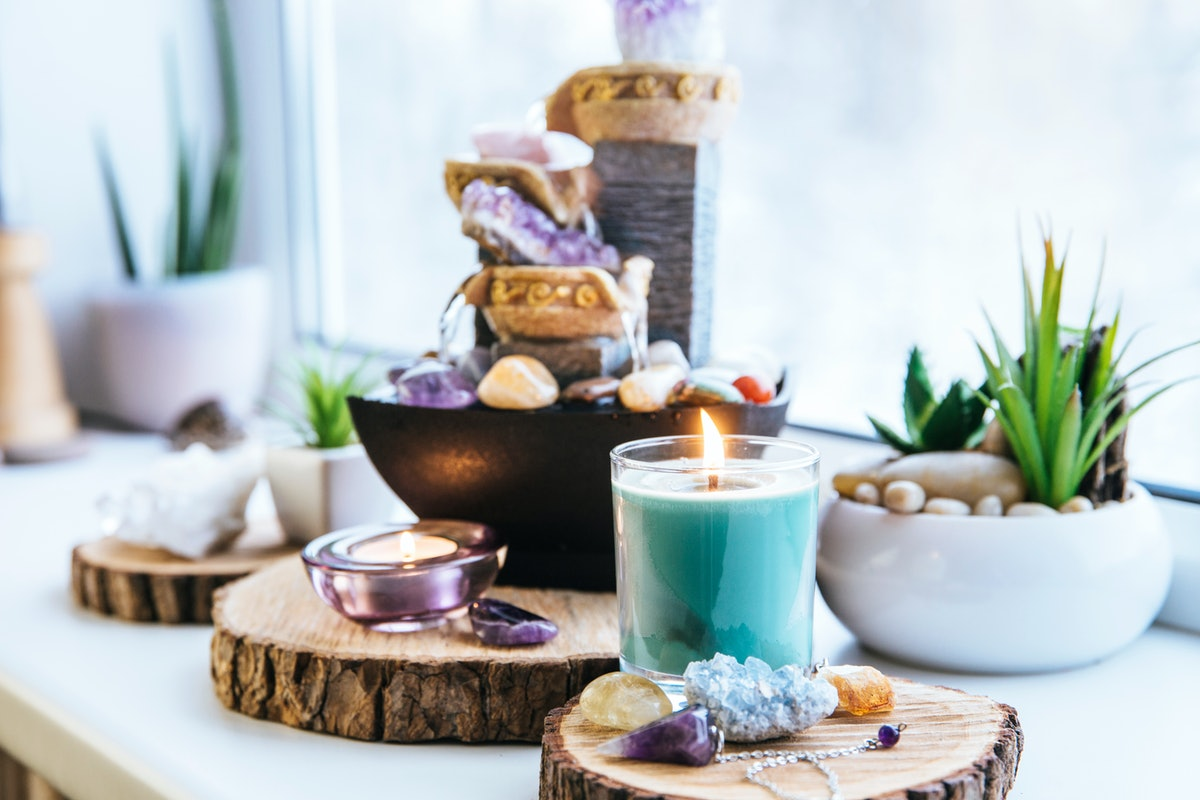 Relaxing spiritual Feng Shui altar set with nature, water and fire element. Tabletop small electrica...