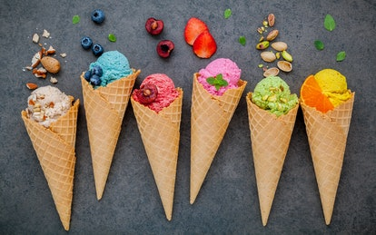 Put out multiple flavors of ice cream, topping, fruits, and candy for a DIY Ice Cream Sundae bar.