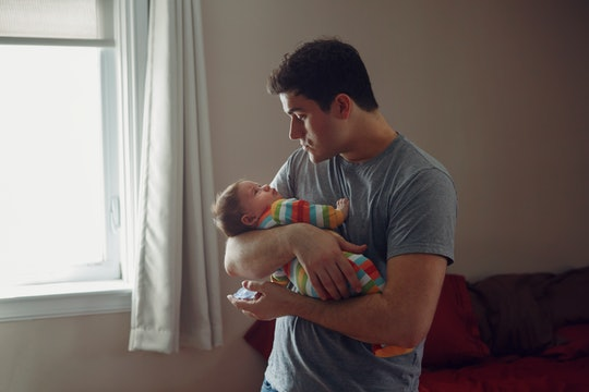 Dads being supportive and taking baby for a distraction can really help a mom relax from cluster feeding.
