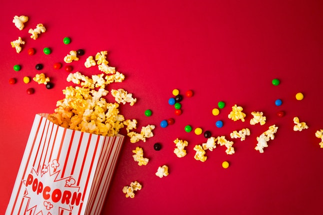 Popcorn and Chocolate Candies are an easy Super Bowl Party dessert.