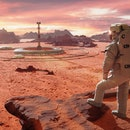 astronaut on planet Mars, looking at a martian colony (3d science illustration)