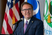 Environmental Protection Agency administrator Andrew Wheeler speaks about President Donald Trump's d...