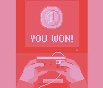 Monitor screen with congratulations retro video game