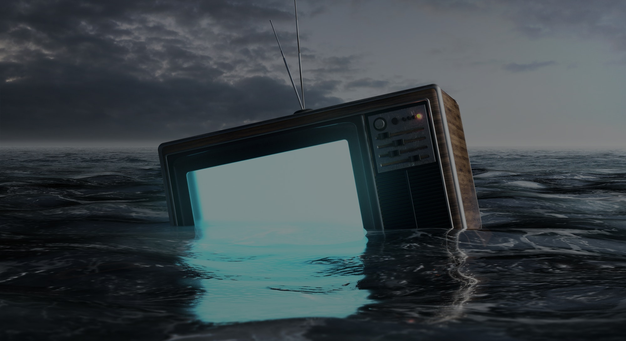 Decline of the television (3D Rendering)