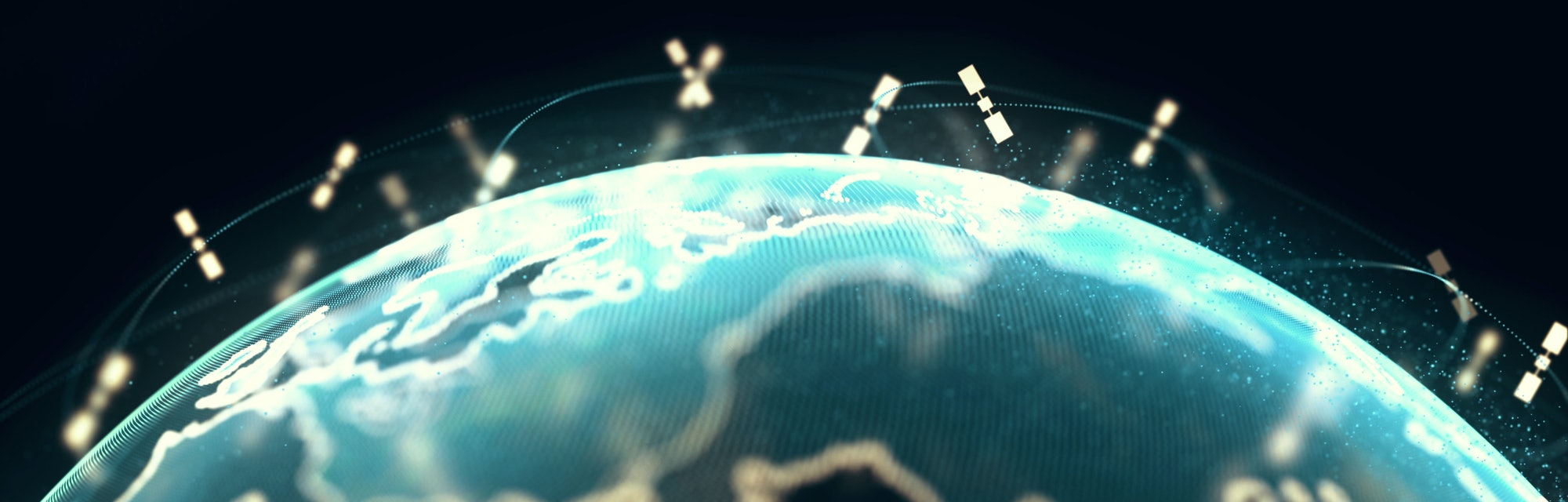 abstract 3D rendering satellites starlink network, digital earth data globe - connection the world. satellites create oneweb or skybridge surrounding planet conveying complexity big data flood the