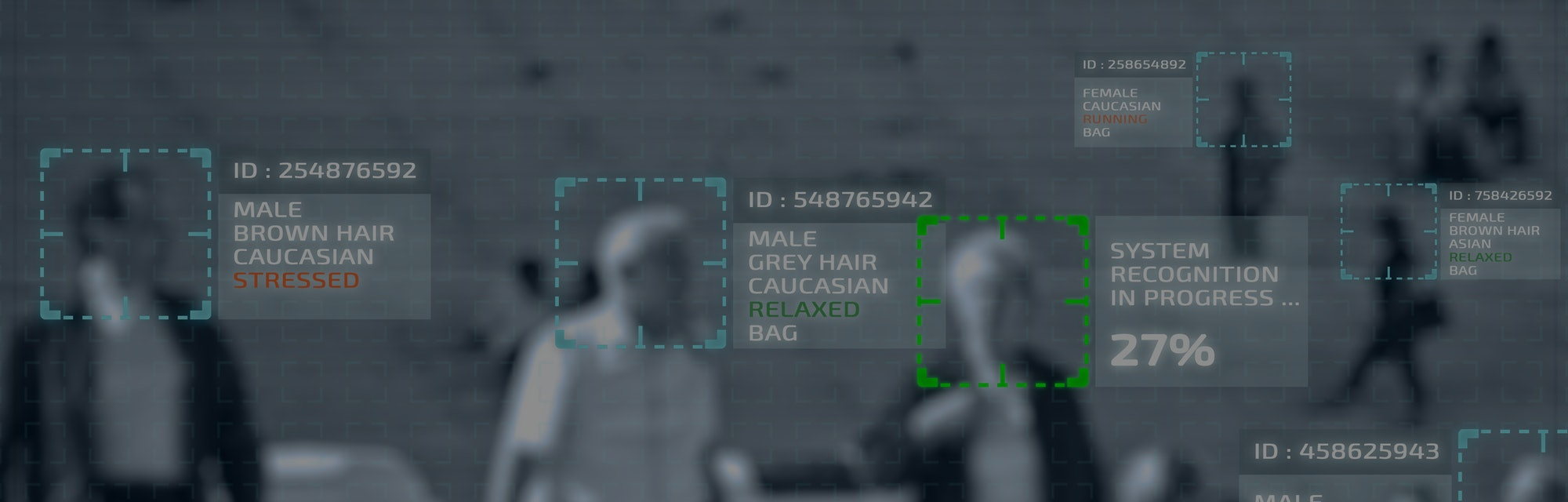 Simulation of a screen of cctv cameras with facial recognition