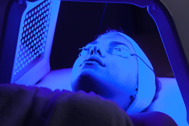 Experts recommend having a professional LED light therapy treatment over an at-home mask