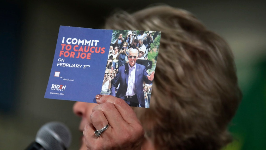Former First Lady of Iowa Christie Vilsack holds up a card encouraging people to caucus for Democratic presidential candidate former Vice President Joe Biden during an event at the Western Iowa Tech Community College Rocklin Conference Center in Sioux City, Iowa