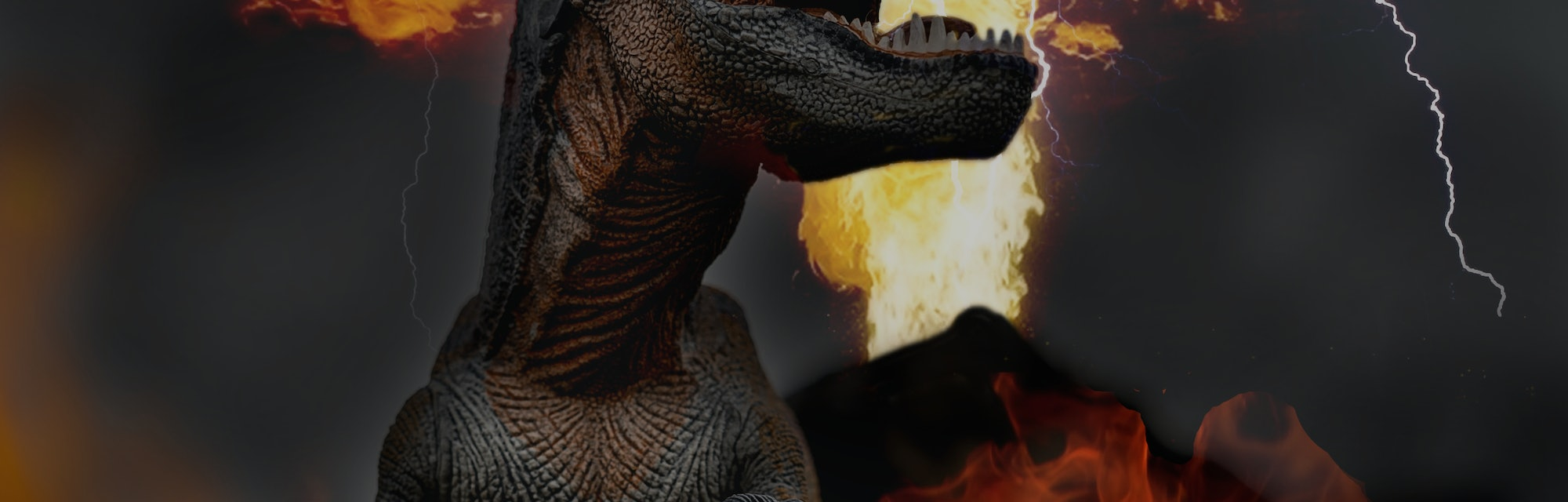 toy photography of Dinosaur facing extinction with meteor shower thunder lighting and volcano erupti...