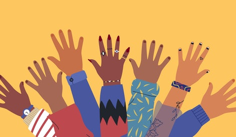 Diverse young people hands on isolated background. Teenager hand group with raised arm for celebrati...