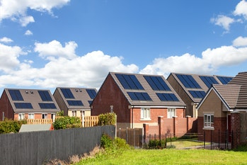English houses with solar panels