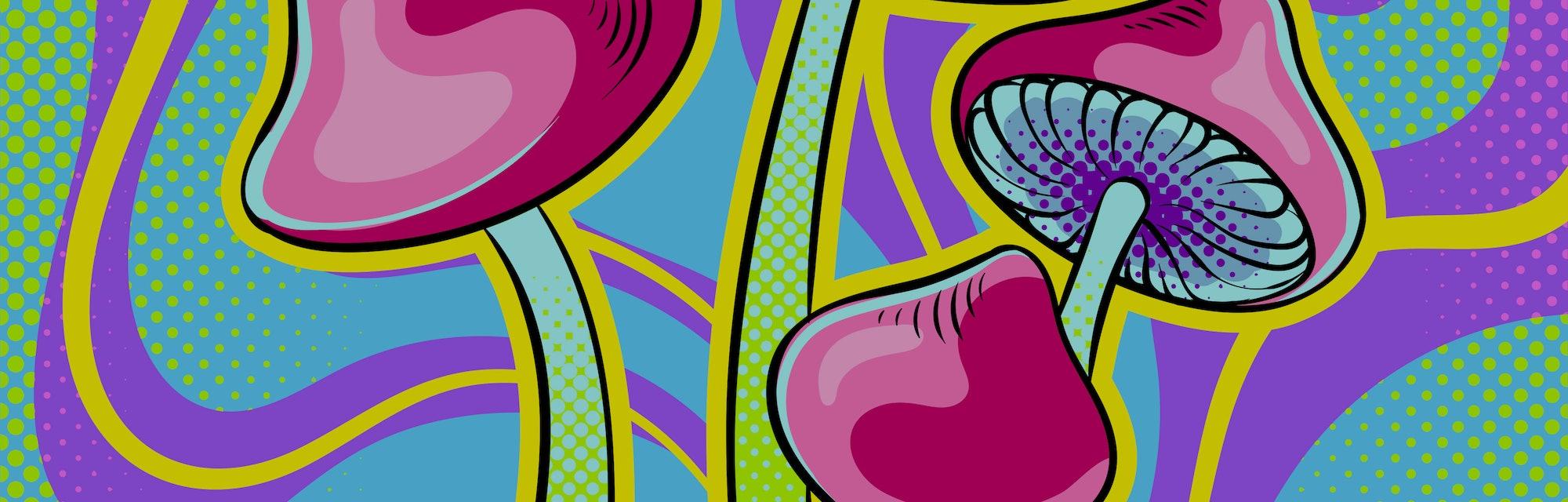 Narcotic psychodelic mushroom psilocybin pop art retro vector illustration. Comic book style imitation.