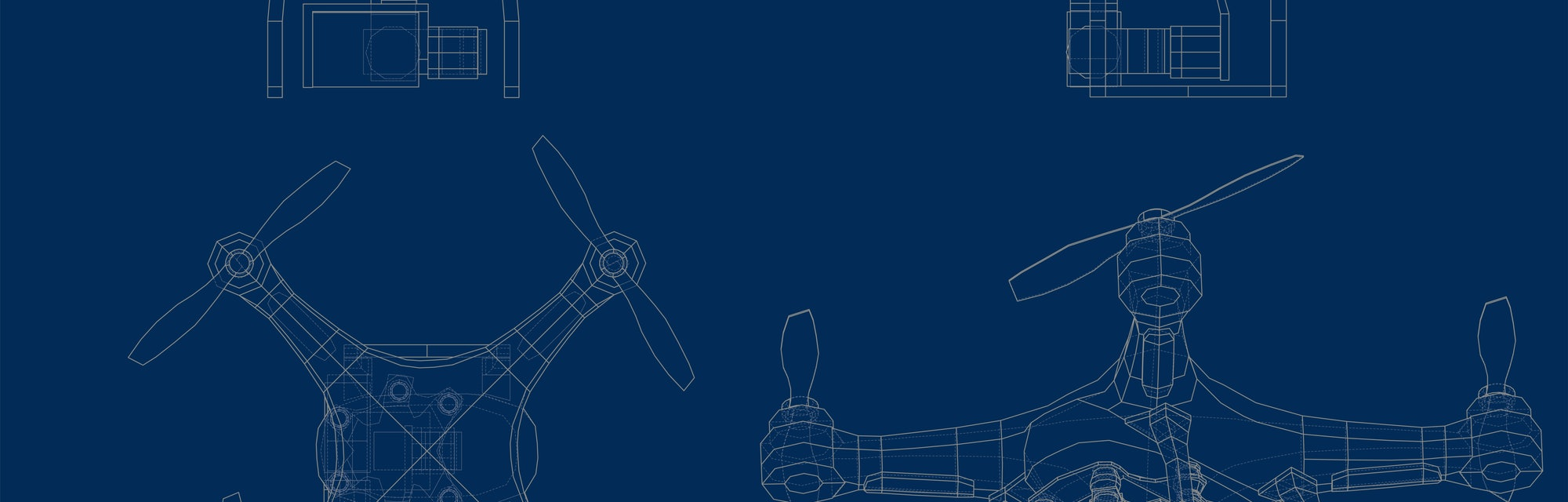 Drone concept. Vector rendering of 3d. Wire-frame style. The layers of visible and invisible lines a...