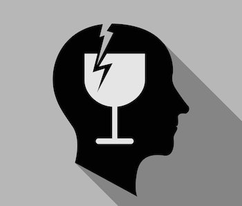 Alcoholic brain icon. Flat illustration of alcoholic brain  icon for web