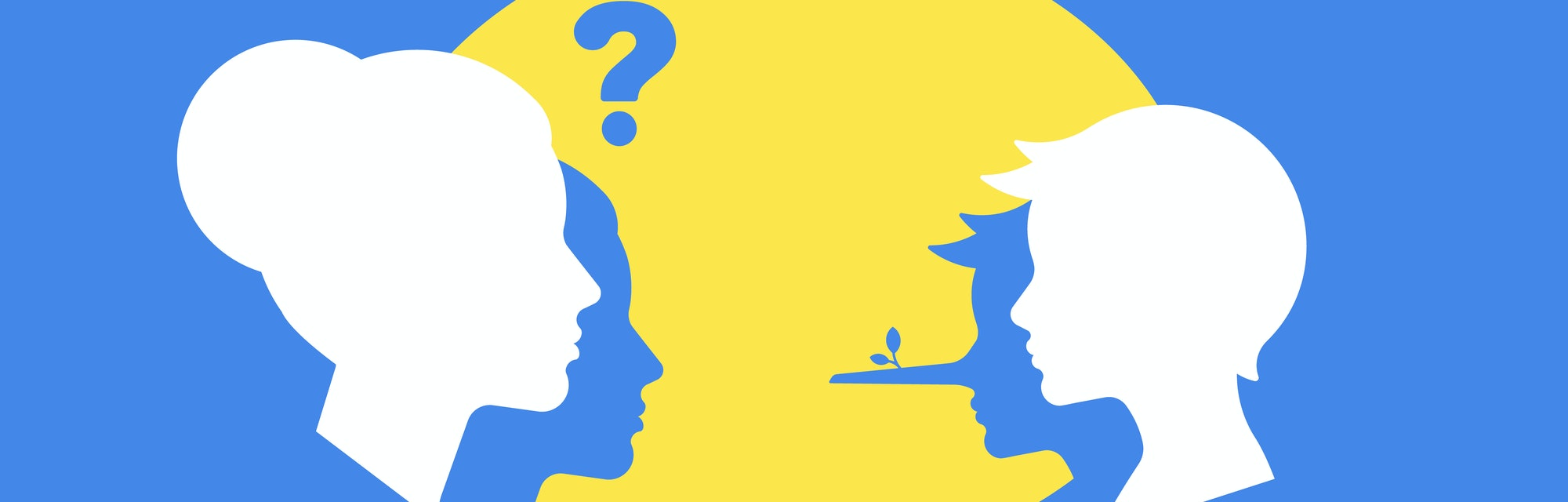 A boy is lying to his mother or teacher. Vector illustration: an adult asks a question, and the child answers lies. The concept of education, deception, mistrust.